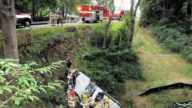 Crash down US 52 embankment