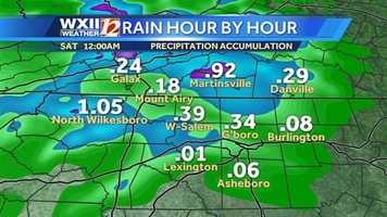Here are the hour-by-hour rain totals from Michelle, starting at 12 a.m. Saturday.