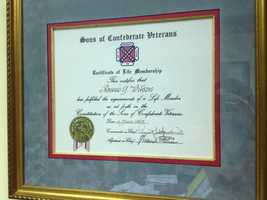 His certificate of his leadership for Sons of Confederate Veterans.