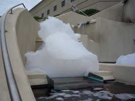 Library staff told police someone poured dye and detergent into the library's 30 gallon fountain.