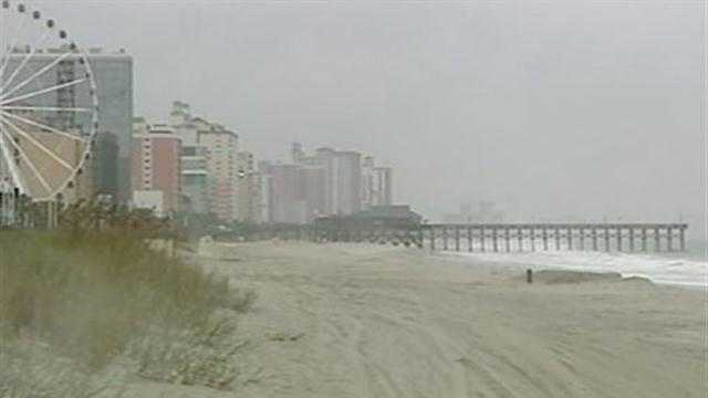 Remnants of Hurricane Sandy brought wind and rain to the South Carolina coast.