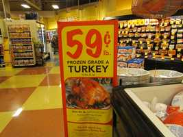 BI-LO's best price on a Grade A frozen turkey is .59 per pound, Butterball turkeys are .99, both with the card and the purchase of at least $35 in groceries. Fresh turkeys are $1.59 per pound.