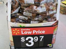 Walmart's price for white potatoes is $3.97 for 10 pounds.