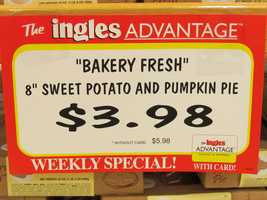 Ingles has pumpkin pies for $3.98 with the card, $5.98 without.