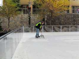 Shovels are also used to clear the ice.
