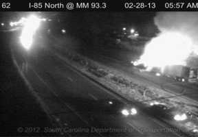 A tractor-trailer fire has slowed traffic on Interstate 85 in Cherokee County early Thursday morning.