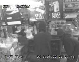 Deputies said two men robbed the clerk at gunpoint.