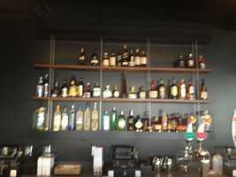 Sip also features a liquor wall.