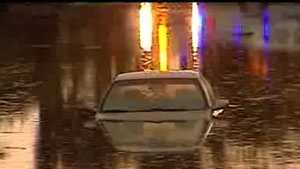 A car could be see submerged up to its windshield.