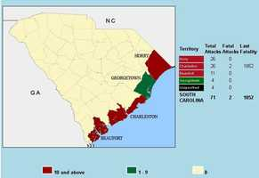 Horry and Charleston counties tied for the most attacks in SC counties.