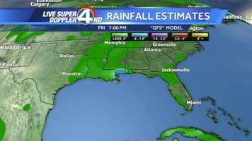 So how much rain will Tropical Storm Karen bring? Click through to see the predicted rainfall as the storm moves. Note: The day and time can be found in the middle of each slide at the top.