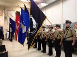 Veterans Day ceremony at St. Joseph's Catholic School on Cornelia Road in Anderson