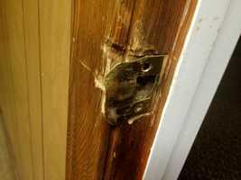 A damaged door.