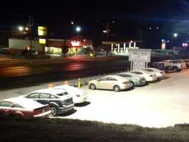Cars in a parking lot near Candler in Buncombe County were covered with snow early Thursday morning.