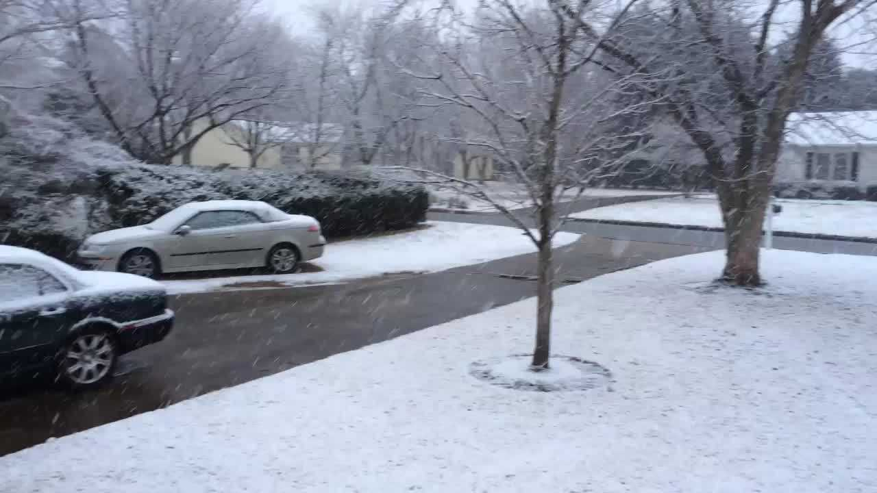 Snow falling in Simpsonville Tuesday morning.