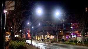 Wet roads - downtown Greenville night