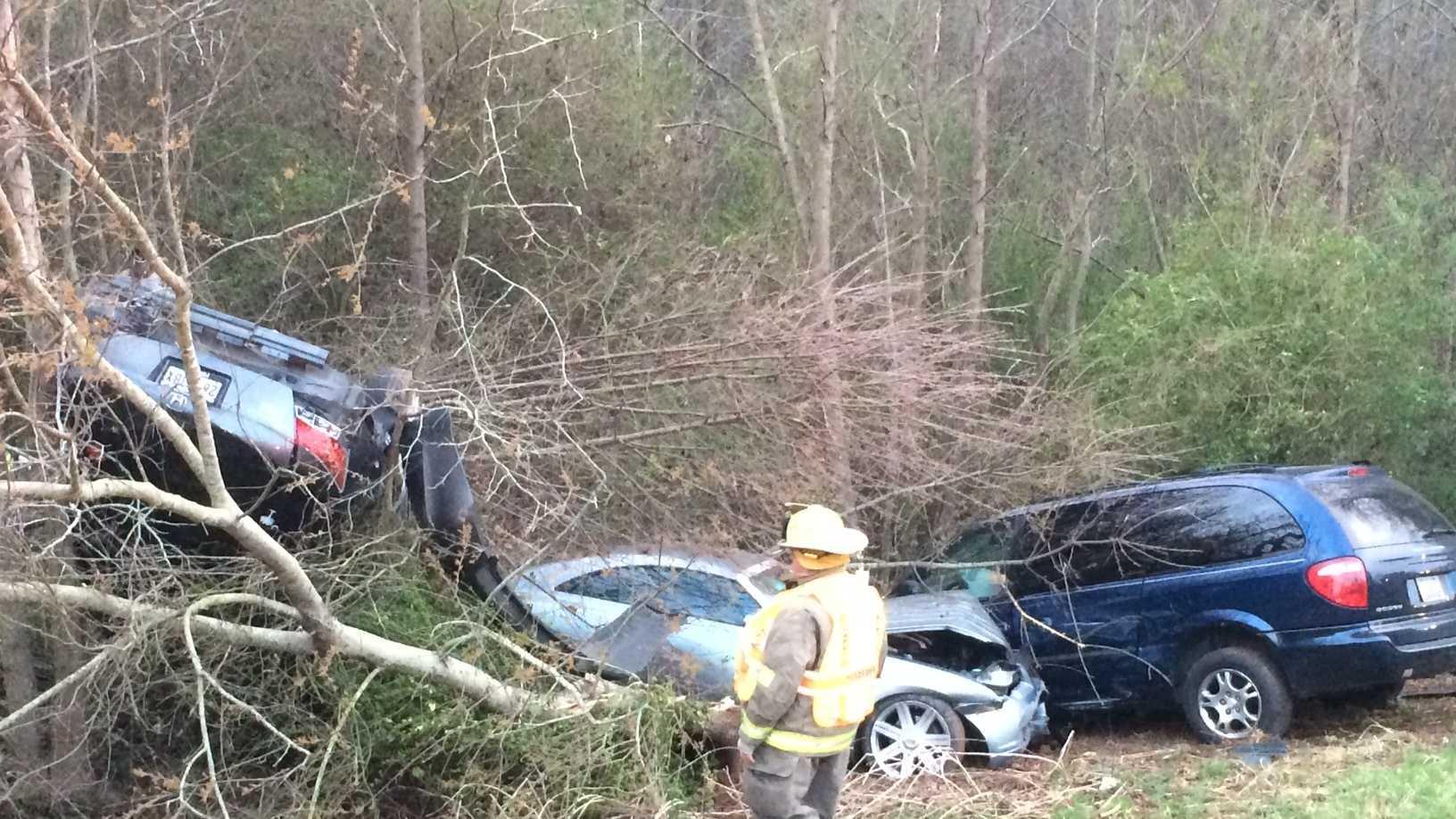 The South Carolina Highway Patrol is investigating a crash involving three cars and three injuries.
