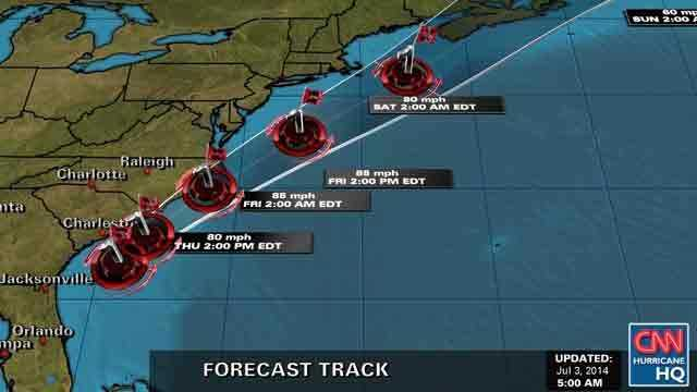 Hurricane Arthur forecast track