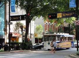 Take a ride on the Downtown Greenville trolley. Guest wishing to ride the trolleys should wait at any intersection along Main Street and as the trolley approaches simple wave their arms to gain the attention of the driver. Under normal circumstances a trolley should pass any location on Main Street about every 35 minutes.To find out about where the trolley runs, click HERE.