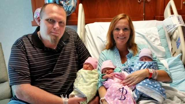 Jessica and John Mayfield with triplets Layla, Brooklyn and Hudson