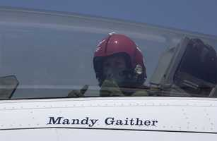 Mandy pulled 9 G's (with G-suit) while flying with the Thunderbirds for a story.