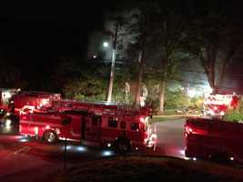 Fire trucks lined St. Dunstans Road where the fire burned at Biltmore Family Medicine.