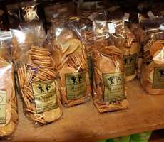 Benne Wafers, thin cookies made with toasted sesame, are made in Charleston. Benne, which is Bantu for sesame, was brought from Madagascar, by African slaves. It was planted extensively throughout the South. Olde Colony Bakery has been selling Benne Wafers since 1940.