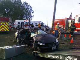 This car was destroyed in a wreck on Highway 25 in Hollister on Oct. 10, 2011.