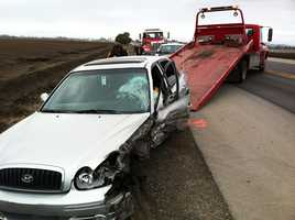 A big-rig truck T-boned a red car on Highway 129 in Watsonville and killed the driver instantly on Feb. 10, 2012.