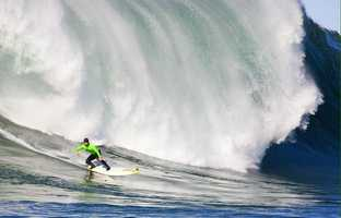 New photos were released this week of the Mavericks Invitational 2013 big-wave surf contest, including this incredible shot by photographer Tony Canadas. Zack Wormhoudt of Santa Cruz beats out this Mavericks wave.