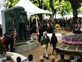 State Attorney General Kamala Harris walks with the Santa Cruz Police Department officers at Monday's California Peace Officers Memorial Ceremony in Sacramento. (May 5, 2014)