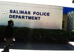 MAY 25, 2014: A small group of protesters broke away and sprayed graffiti on the Salinas Police Department. The graffiti contained the names of three men fatally shot by Salinas police officers in 2014.