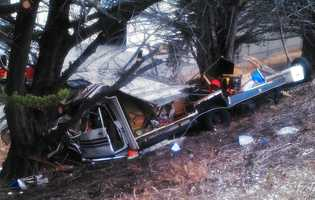 A motorhome crashed head-on into a tree on Highway 1 in Monterey near the Casa Verde Way exit on June 23, 2014. The motorhome driver and passenger were pinned inside for 10 minutes. The trapped victims were pried out and flown to a trauma center to be treated for major injuries. CHP officers saved two dogs that were also inside the motorhome, but a third dog darted away and vanished.