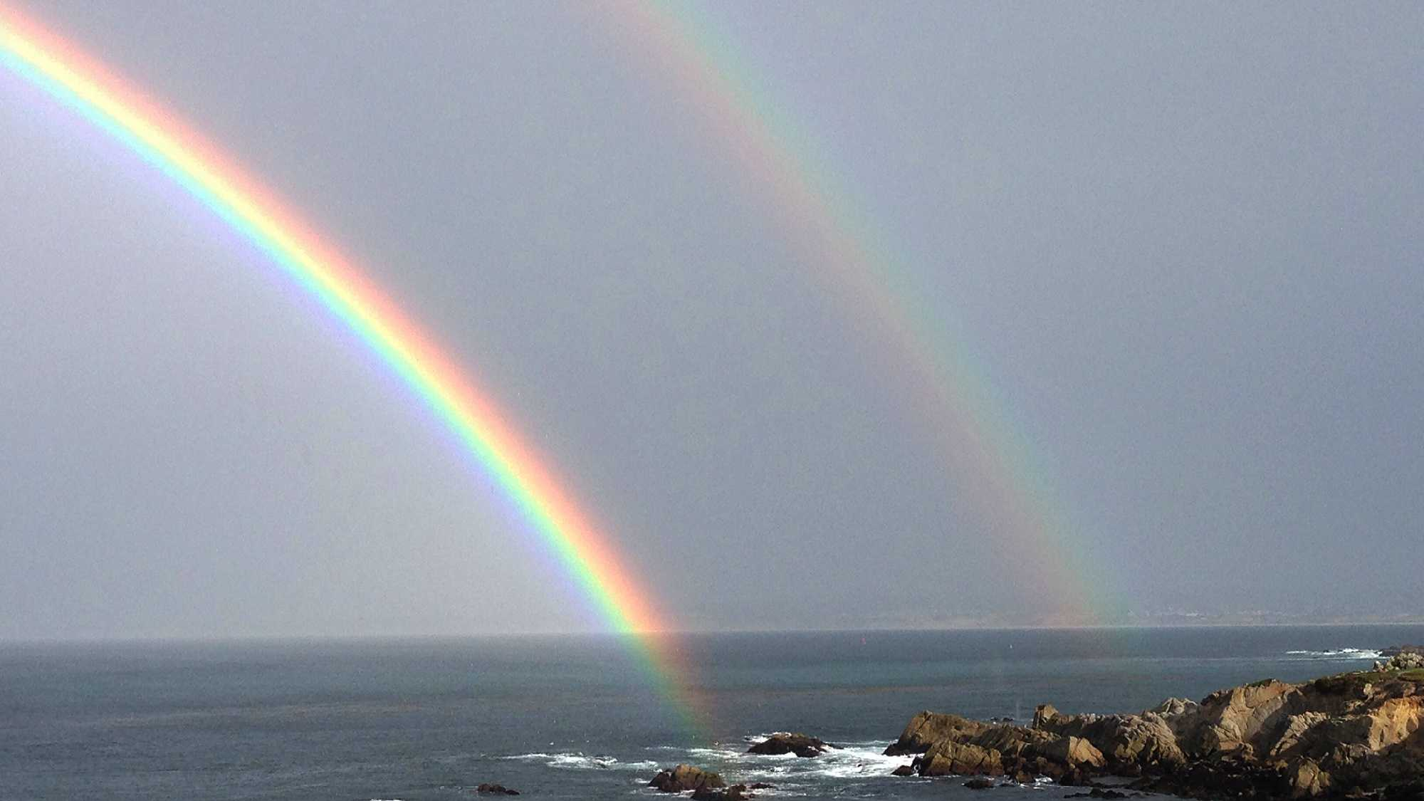 Beautiful rainbows formed between rainstorms in Pacific Grove.