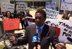 Four Latino men were fatally shot by Salinas police officers in 2014, and Burris filed lawsuits on behalf of two men's families. Protesters demanded justice against police brutality.
