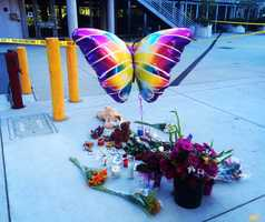 A memorial for Maddy is seen at the Tannery Arts Center on Tuesday. (July 28, 2015)