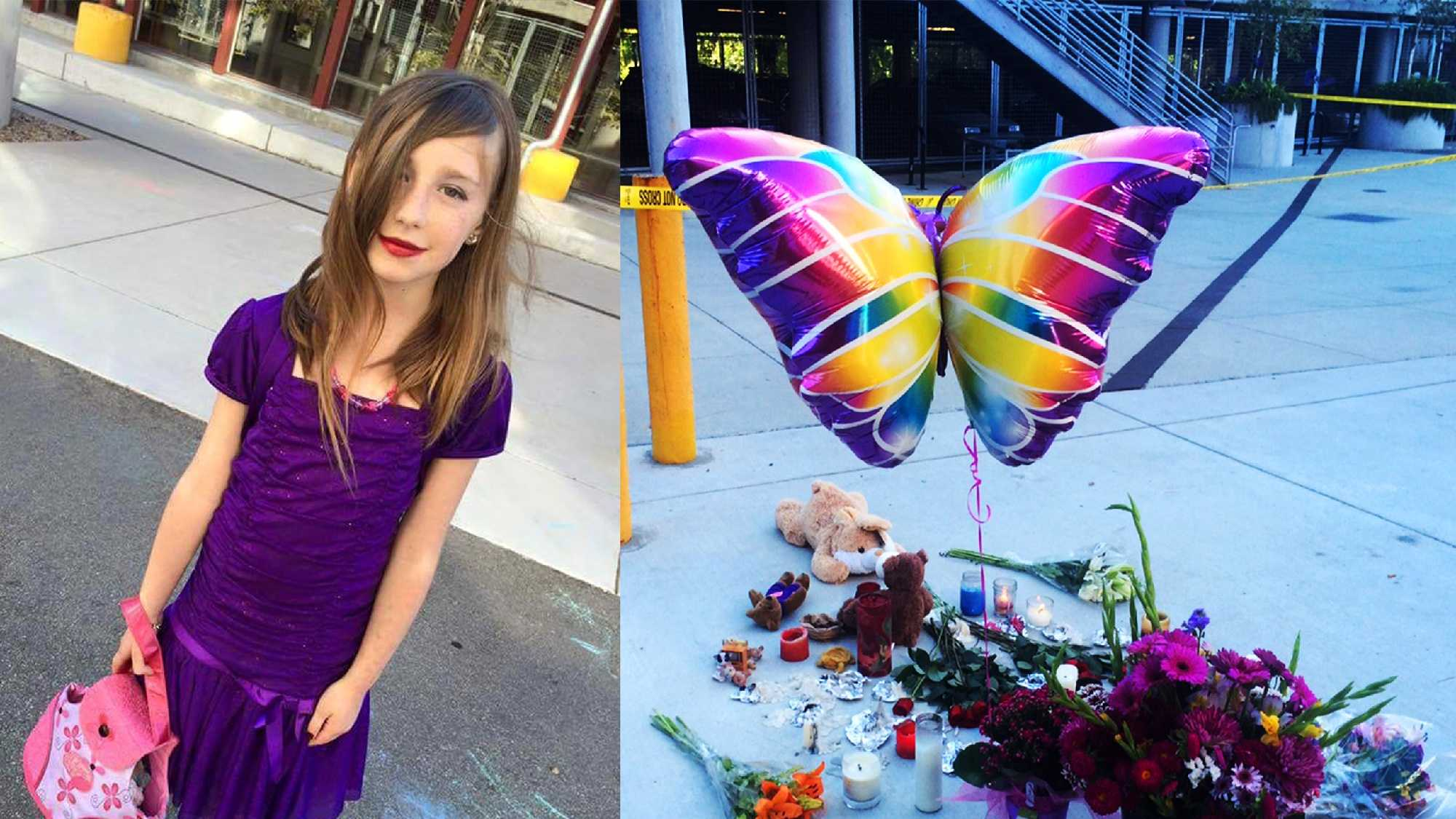 A memorial, right, grew on Tuesday for 8-year-old Madyson Middleton, left.