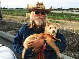 Rick Biddle saved a woman from drowning in water gushing through a storm canal in Salinas. Biddle spotted the woman because she was swept past his homeless encampment and his dog heard her yelling for help.