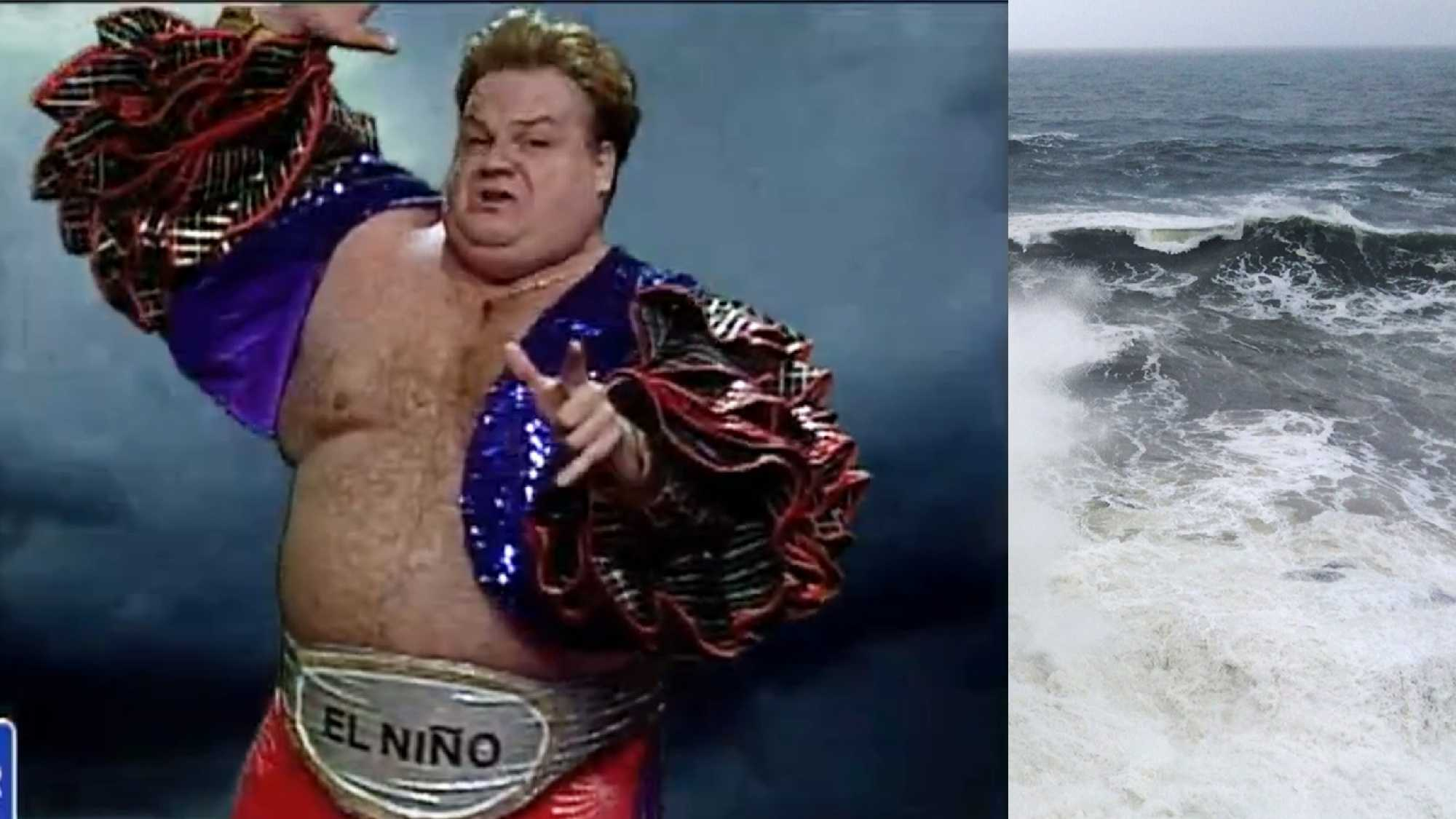 "Chris Farley playing the role of ""El Nino"" in 1997."
