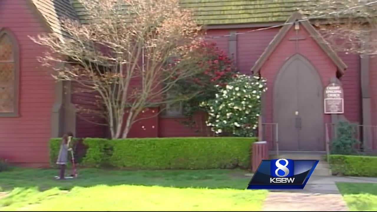 A vandal splattered blue paint on six churches and police are attempting to identify a suspect.