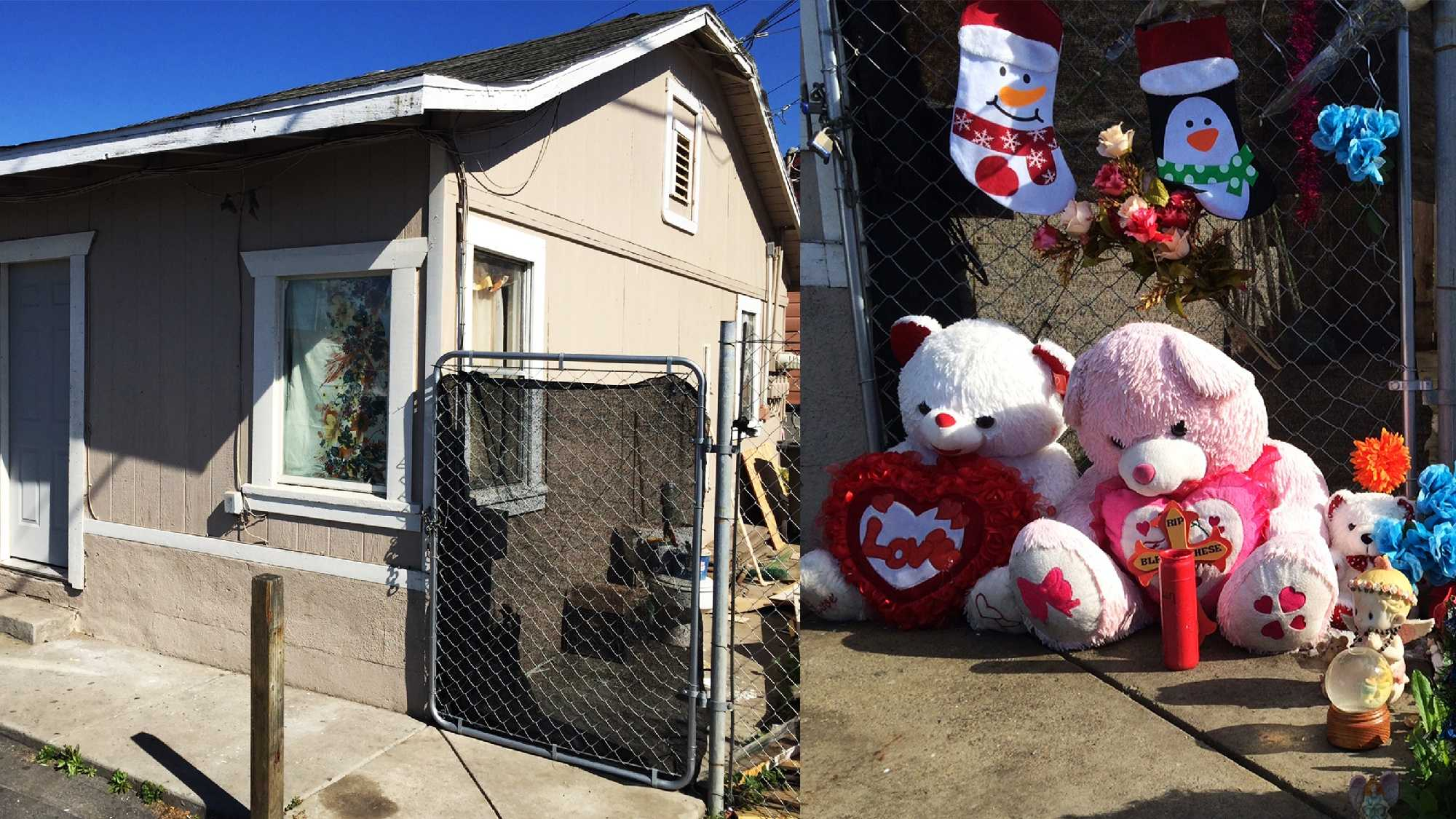 The memorial on the right was removed from the apartment on the left.
