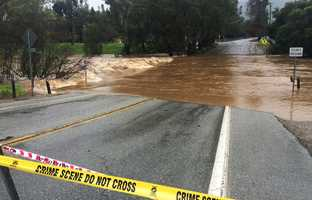 Gilroy residents were excited to see a creek gushing across Miller Avenue as a sign that El Nino was in full effect. (March 13, 2016)