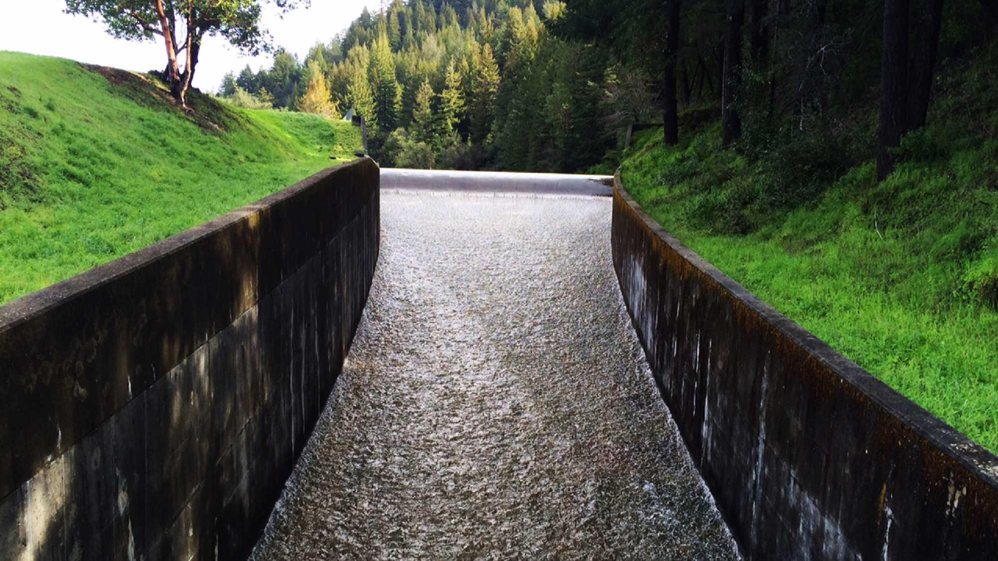 Loch Lomond Reservoir in the Santa Cruz mountains was overflowing on Monday.