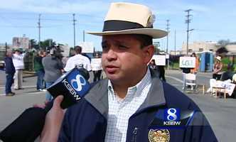 """State Assemblyman Luis Alejo was at the protest speaking out against the city's sweep. """"I don't think (a sweep) is a solution. You do sweeps, and push people out, we all know they are simply going to go somewhere else to sleep,"""" Alejo said."""