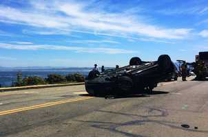 Multiple sports cars crashed along a scenic stretch of Ocean View Boulevard in Pacific Grove Tuesday.