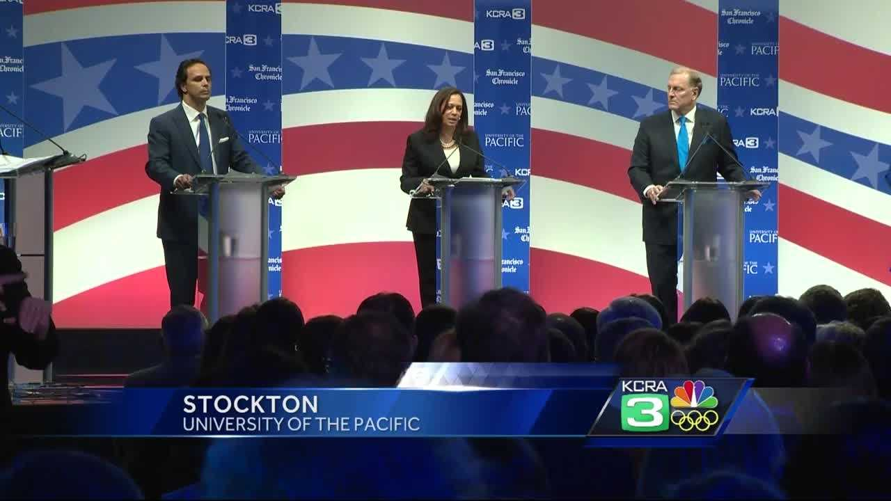 California State Attorney Kamala Harris is at the top of the polls and has that name recognition the other candidates do not, making it seem the other candidates were aiming ofr second place.