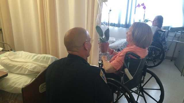 Monterey firefighters deliver flowers for Mother's Day