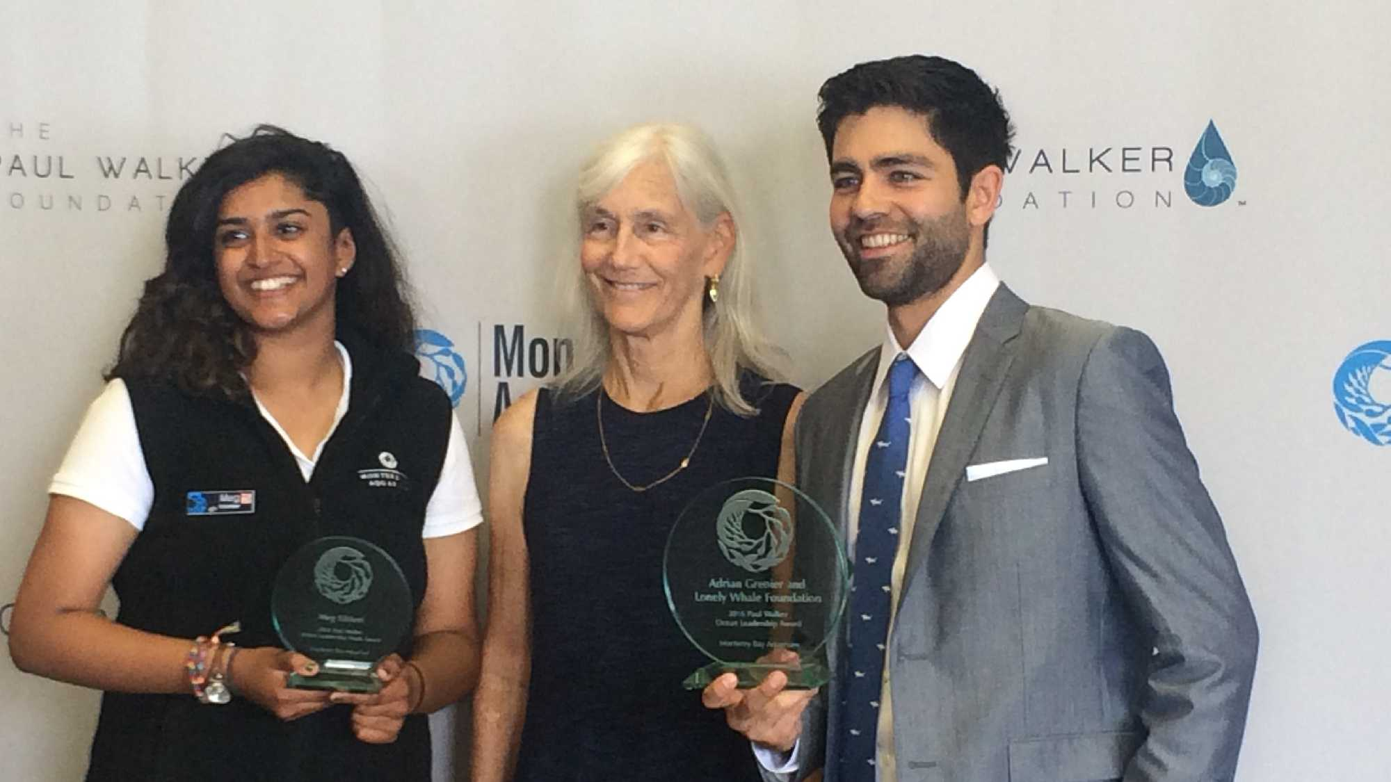 """The Monterey Bay Aquarium presented its 2016 Paul Walker Ocean Leadership Award to actor and filmmaker Adrian Grenier for his work with his foundation, """"The Lonely Whale."""" The aquarium also presented the Paul Walker Youth Award to Meg Kikkeri of Cupertino."""