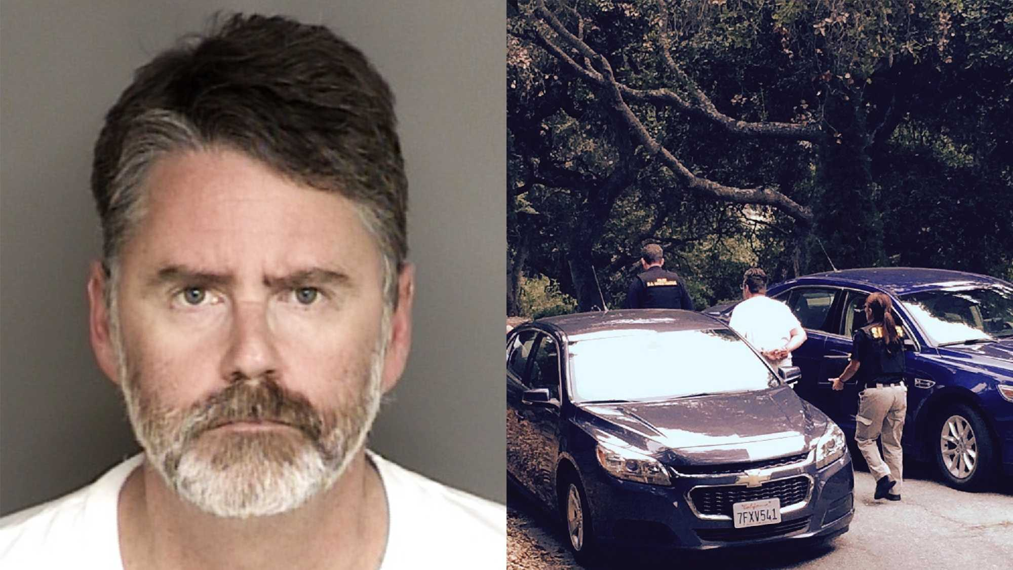 Eric Dennis Norrby is seen in a mug shot, left, and during his arrest, right.