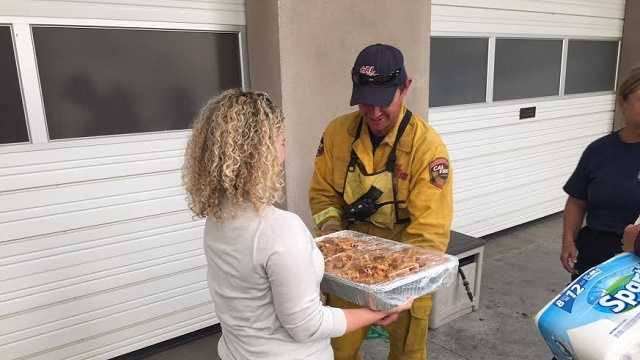 Hungry firefighters treated to special dinner